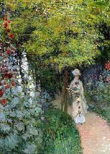 Claude Monet - Сад, Hollyhocks