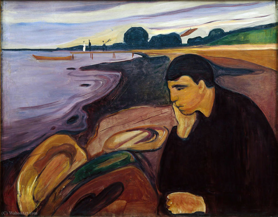 Меланхолия, холст, масло по Edvard Munch (1863-1944, Sweden)