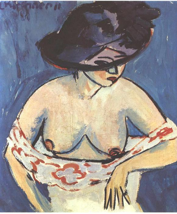 Half-Naked Женщина с шляпа, холст, масло по Ernst Ludwig Kirchner (1880-1938, Germany)