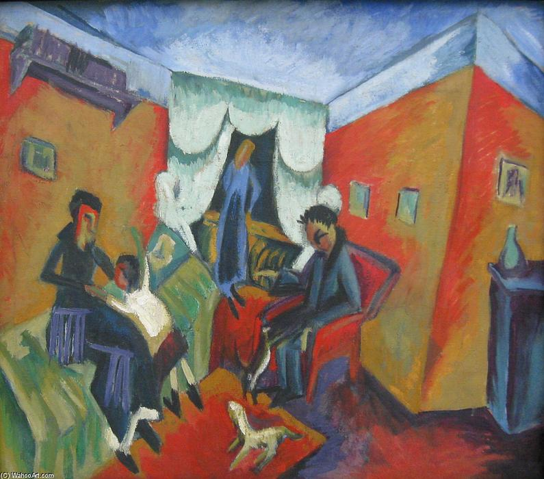 Interieur, 1915 по Ernst Ludwig Kirchner (1880-1938, Germany)
