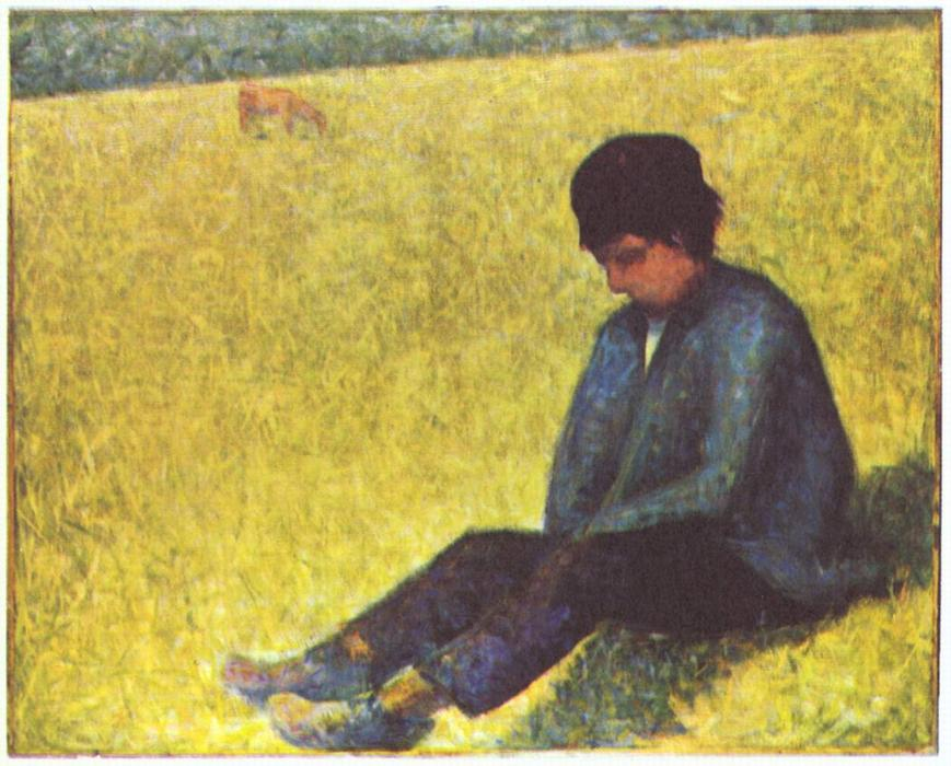 Крестьянин мальчик  сидя  в     поляна , холст, масло по Georges Pierre Seurat (1859-1891, France)