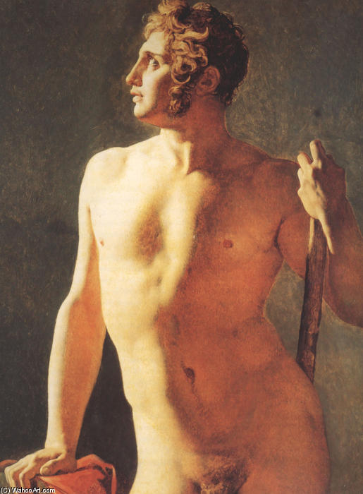 Мужской торс, холст, масло по Jean Auguste Dominique Ingres (1780-1867, France)