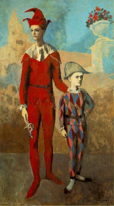 Acrobat и молодых Harlequin, холст, масло по Pablo Picasso (1881-1973, Spain)
