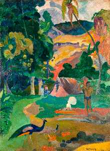 Paul Gauguin - пейзаж с павлины