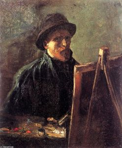 Vincent Van Gogh - Self-Portrait с темный войлок Hat на Мольберт