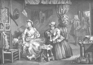 William Hogarth - Harlot's Progress , plate 3