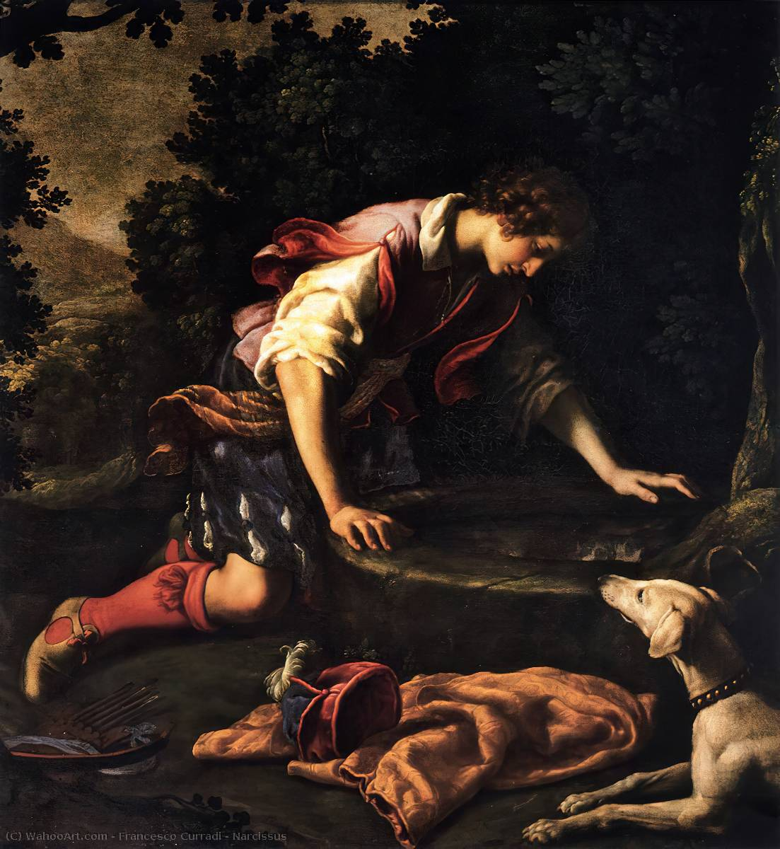 Нарцисс по Francesco Curradi (1570-1661, Italy)