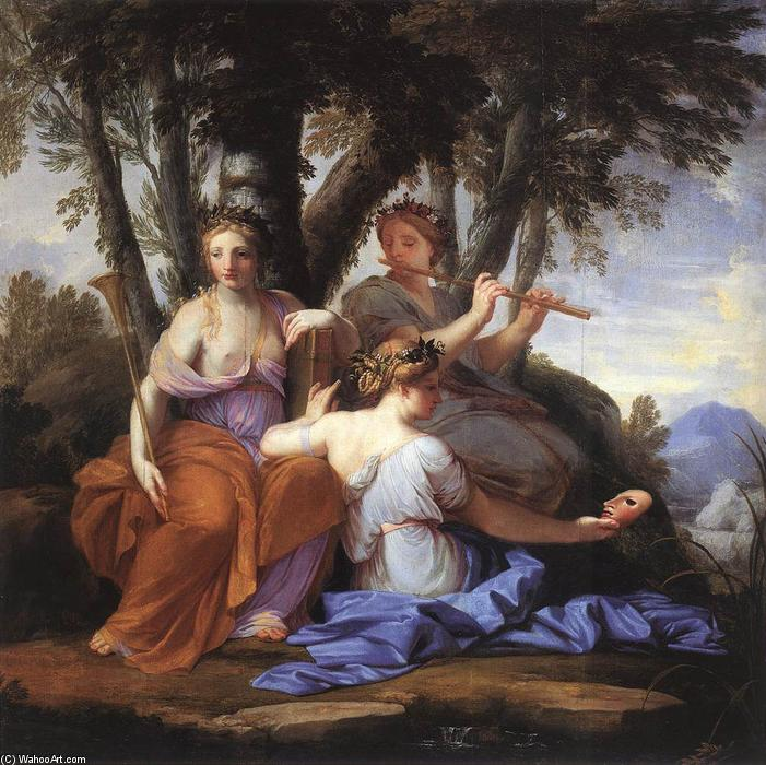 Музы: Клио, Эвтерпа и Талия, 1652 по Brother Lesueur (Eustache Le Sueur) (1616-1655, France)