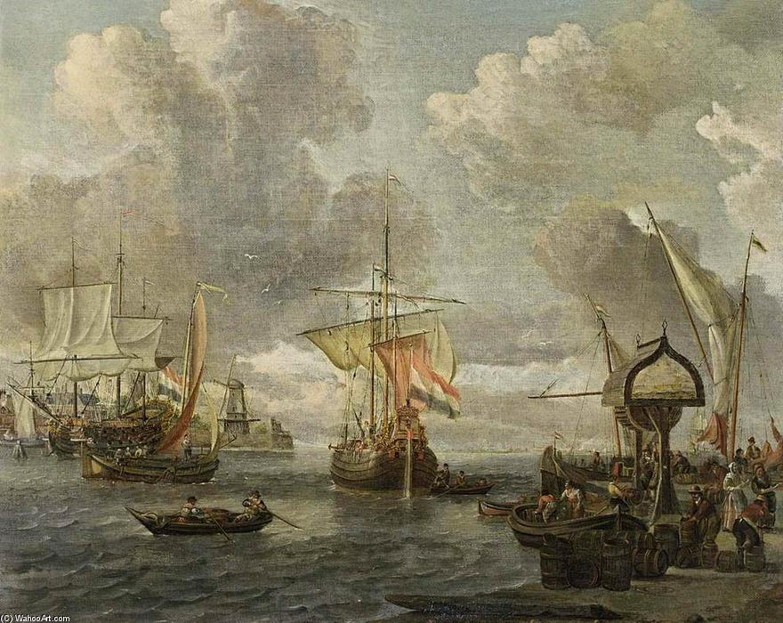 Зрения of гавань на zuiderzee, 1680 по Abraham Storck (Sturckenburch) (1644-1708, Netherlands) | Картина Копия | WahooArt.com