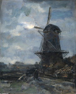 Jacob Maris - Molen бий maanlicht