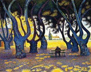 Paul Signac - платанами , place des lices , Saint-Tropez , Опус 242