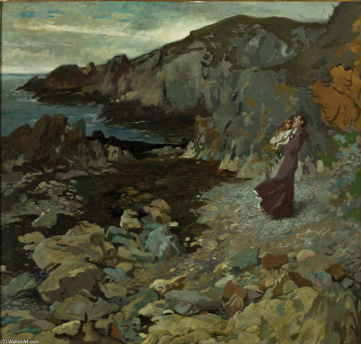 скалистый побережье Сцена в Howth, холст, масло по William Newenham Montague Orpen (1878-1931, Ireland)