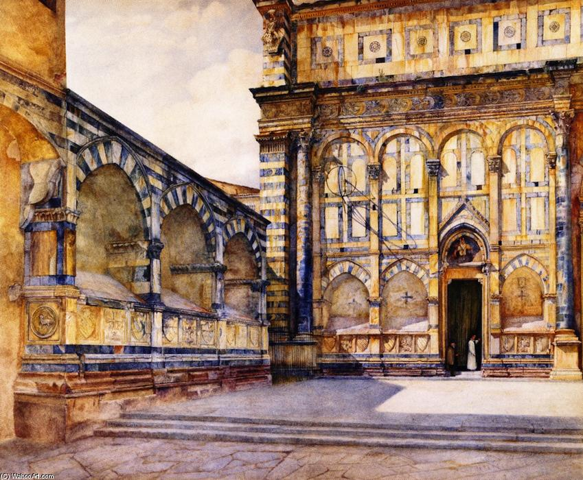 Santa Maria Новелла , Florence , Italy, акварель по Henry Roderick Newman (1833-1918, United States)