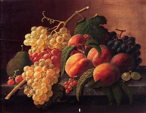 Severin Roesen - Still Life with Персики , Виноград and a Груша