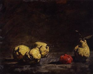 Théodule Augustin Ribot - Still Life with Груши and a Qince