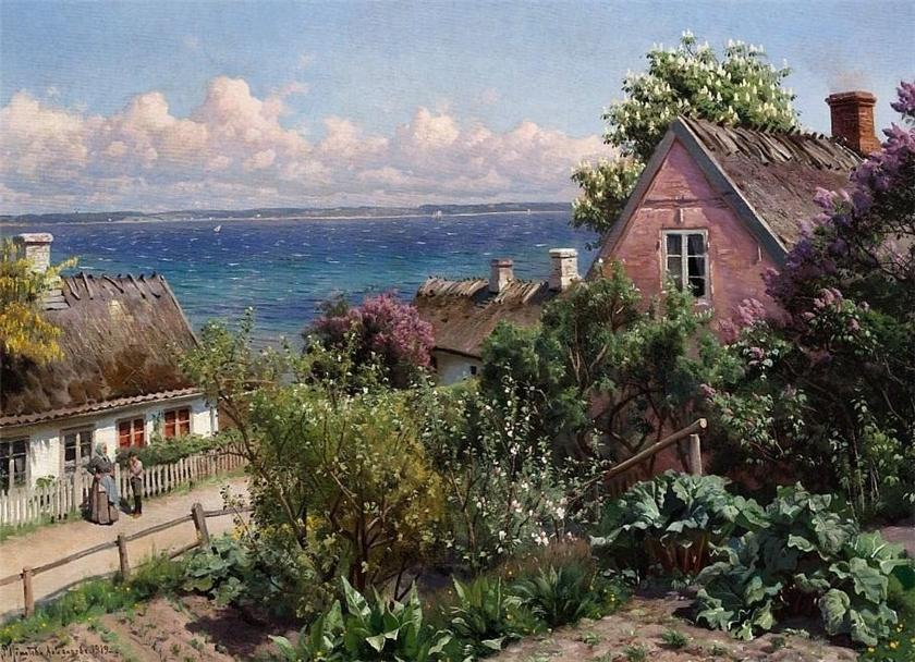 Летний день в Aalsgaarde, 1919 по Peder Mork Monsted (1859-1941, Denmark)