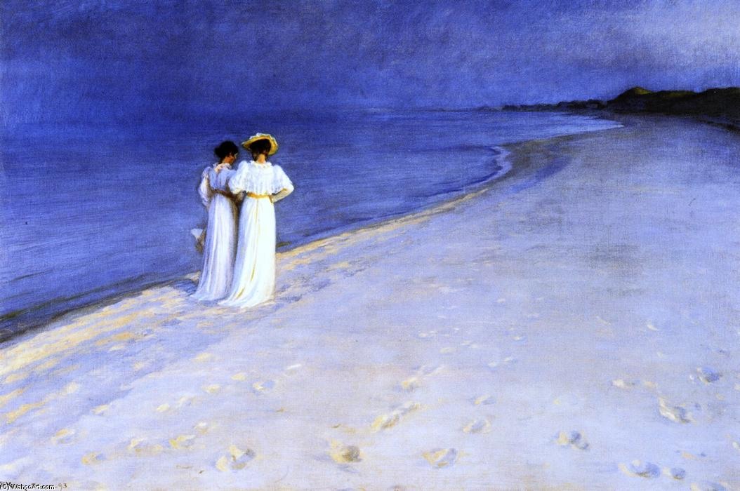 летняя ночь на Юг Пляж в Skagen, холст, масло по Peder Severin Kroyer (1851-1909, Norway)