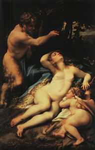 Antonio Allegri Da Correggio - Venus and Амур with a Сатир