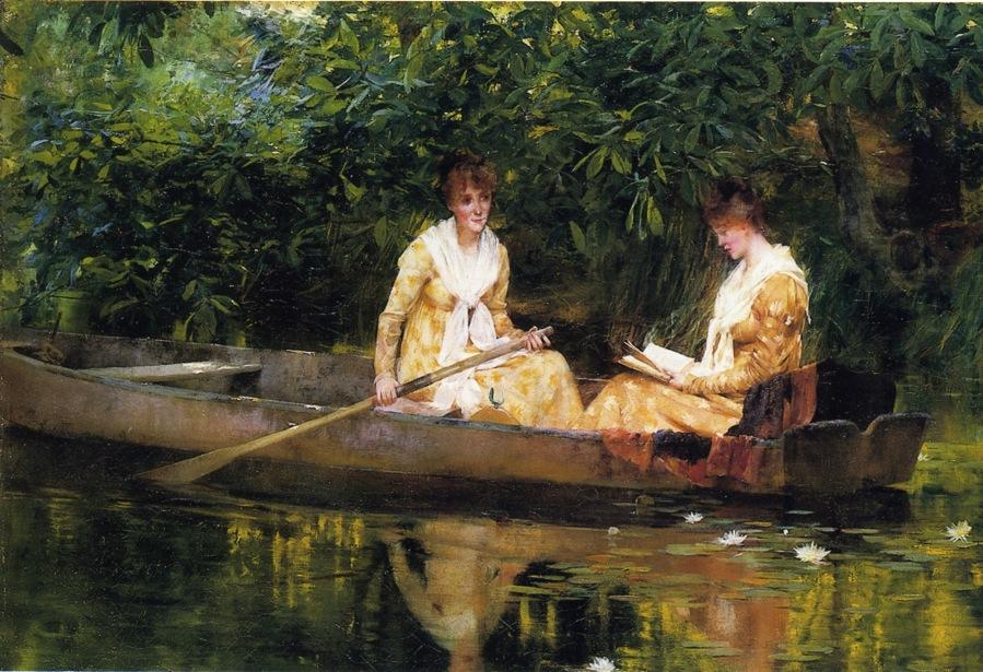картина два человека в лодке