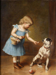 Carl Reichert - Young девушка кормлению a dog