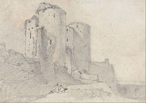 John Sell Cotman - Beeston Замок , Cheshire- вход в замок