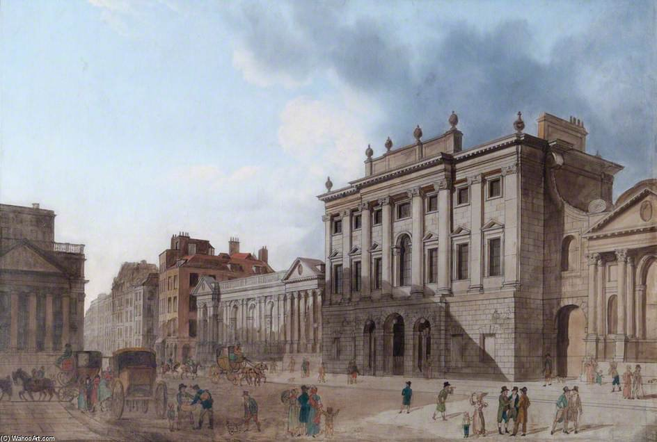 вид на old bank англии , Лондона по Thomas Hosmer Shepherd (1792-1864, United Kingdom) | Картина Копия | WahooArt.com
