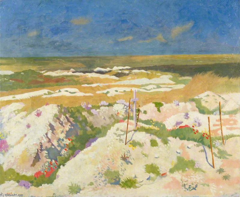 Могила и а шахта crater в la Boiselle по William Newenham Montague Orpen (1878-1931, Ireland)