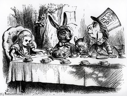 mad Hatter's чай партия по John Tenniel (1820-1914, United Kingdom)