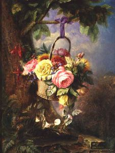 Edward Charles Williams - Корзина Of Roses с Fuschia