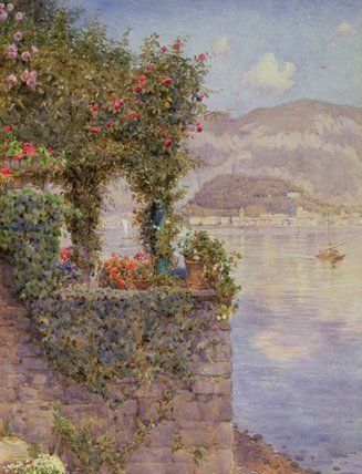 bellagio от тремеццо по Ernest Arthur Rowe (1863-1922, United Kingdom)