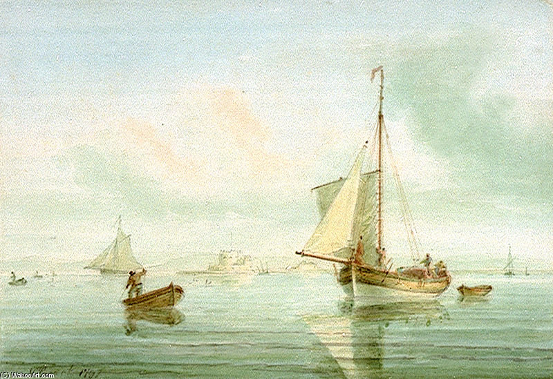 Резчик От Calshot Замок по Nicholas Pocock (1740-1821, United Kingdom)