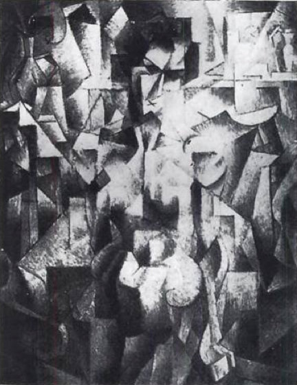 ню à Ла Cheminée по Jean Dominique Antony Metzinger (1883-1956, France)