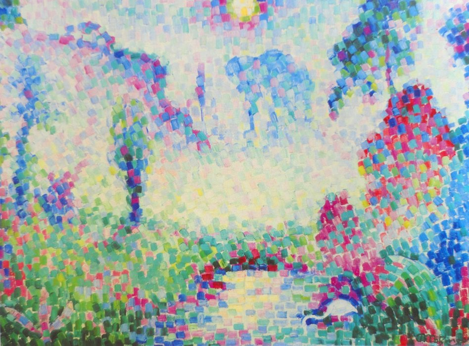 Пейзаж Pointilliste по Jean Dominique Antony Metzinger (1883-1956, France)