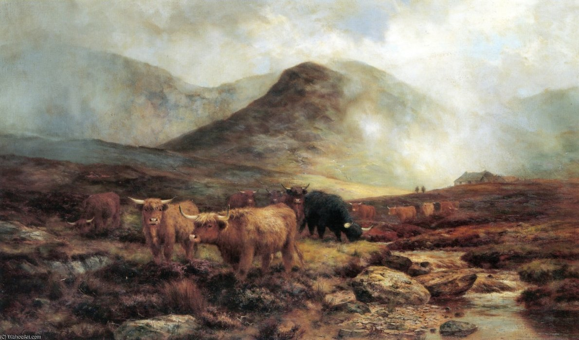 пересечение skye moorlands Ливни на Склоны по Louis Bosworth Hurt (1856-1929, United Kingdom)