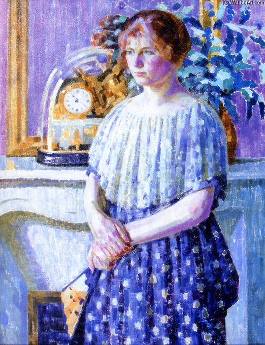 женщина перед    Камин  по Louis Ritman (1889-1963, Russia)