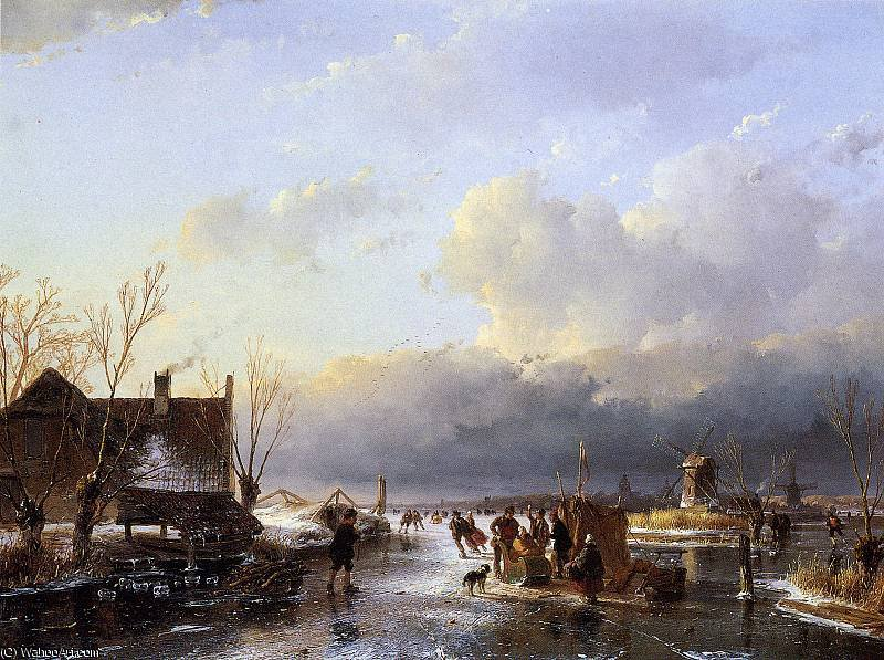 Scaters на реке возле лесопилки Солнца по Andreas Schelfhout (1787-1870, Netherlands)