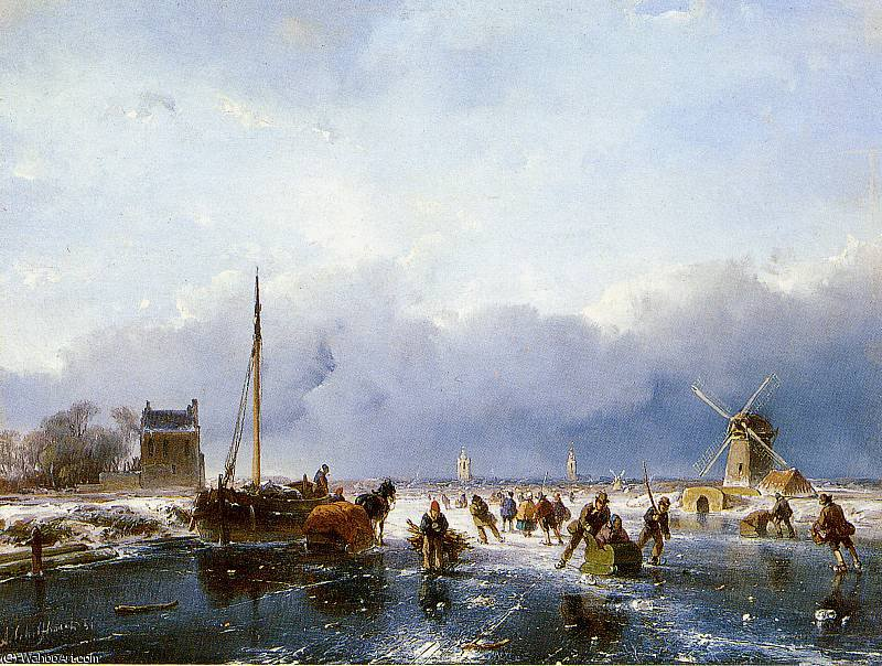 Scaters на реке Солнце по Andreas Schelfhout (1787-1870, Netherlands)
