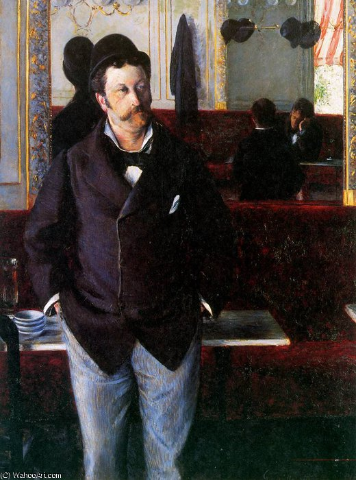 В кафе Sun по Gustave Caillebotte (1848-1894, France)
