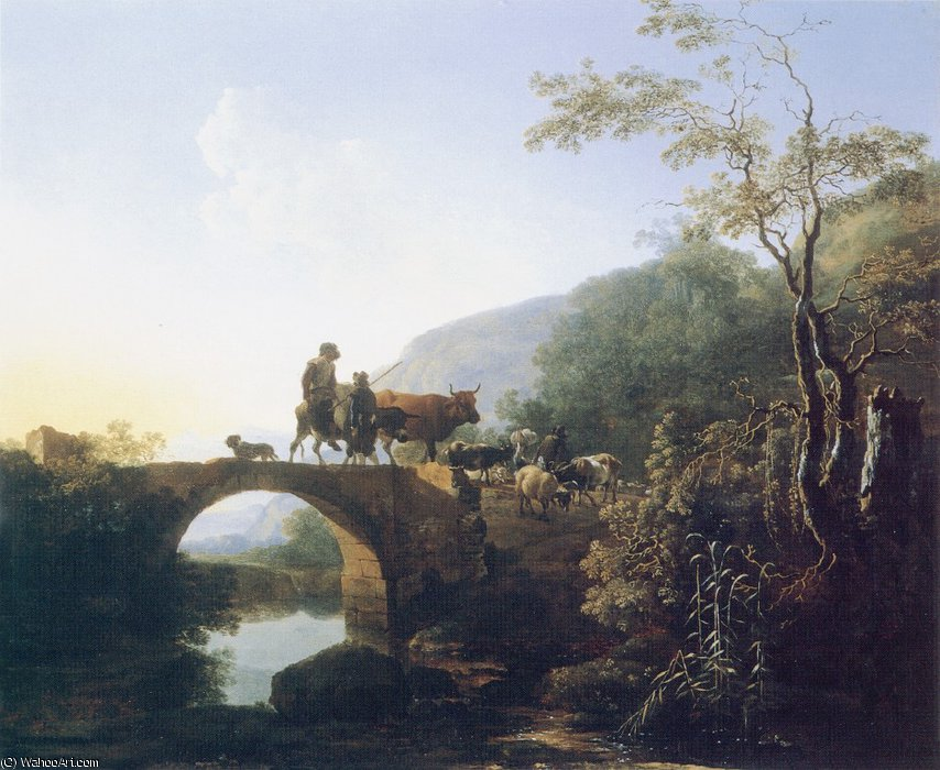 Pynacker - ( 53Bridge ) по Paulus Potter (1625-1654, Netherlands)