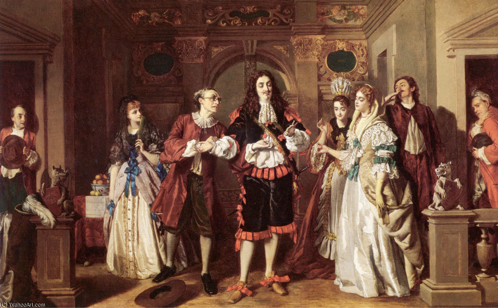 Сцена из Molières LAvare по William Powell Frith (1819-1909, United Kingdom)