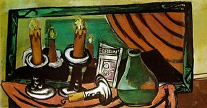 Max Beckmann - Натюрморт с свечи и зеркало , Staat
