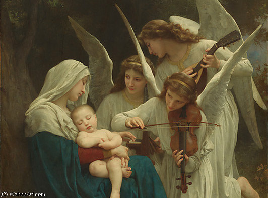 virginandangelsbeforelarge по William Adolphe Bouguereau (1825-1905, France)