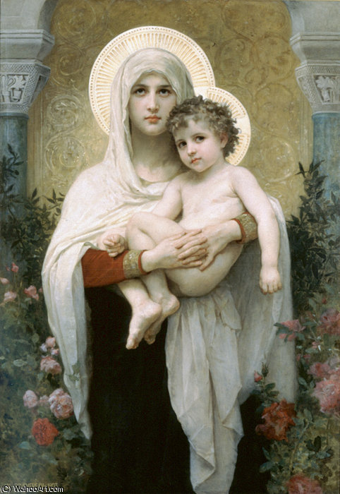 Мадонна самого  тем  РОЗЫ  по William Adolphe Bouguereau (1825-1905, France) | WahooArt.com
