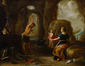 David Teniers The Elder - Венера посещения Вулкана сек Forge