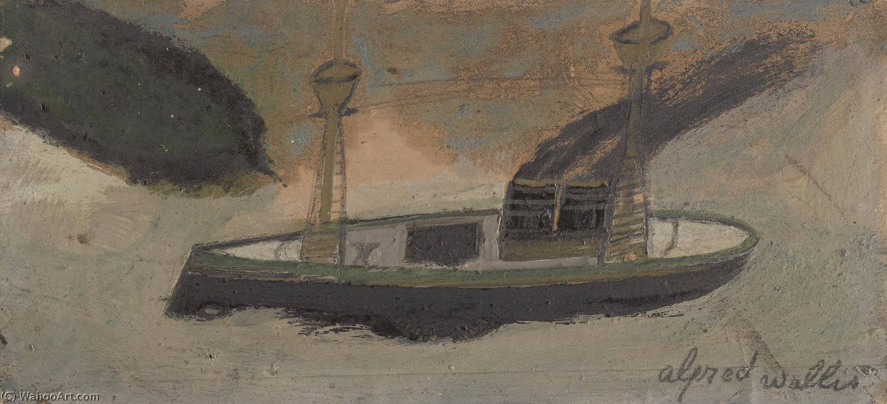 пассион айсберг, Масло по Alfred Wallis (1855-1942, United Kingdom)