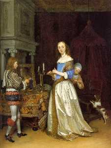 Gerard Ter Borch The Younger - Леди в она  Туалет