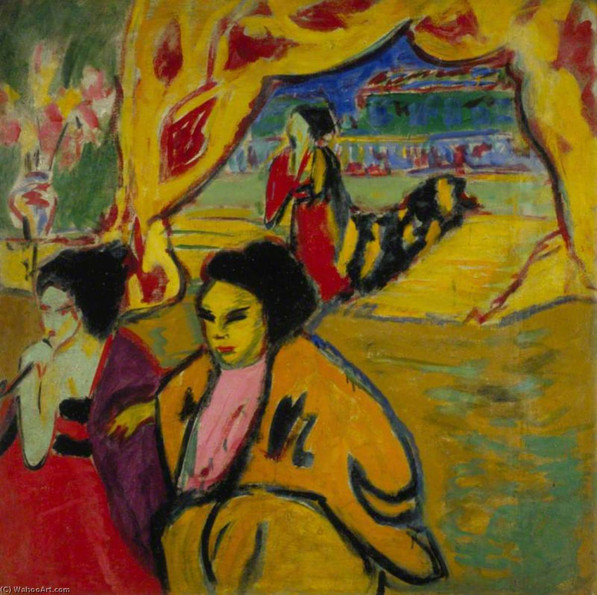Japanisches Театр ( Японский Театр ), холст, масло по Ernst Ludwig Kirchner (1880-1938, Germany)