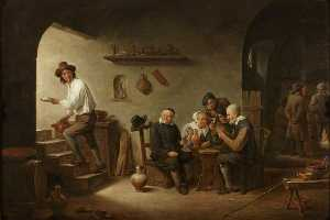 David The Younger Teniers - Интерьер Tavern