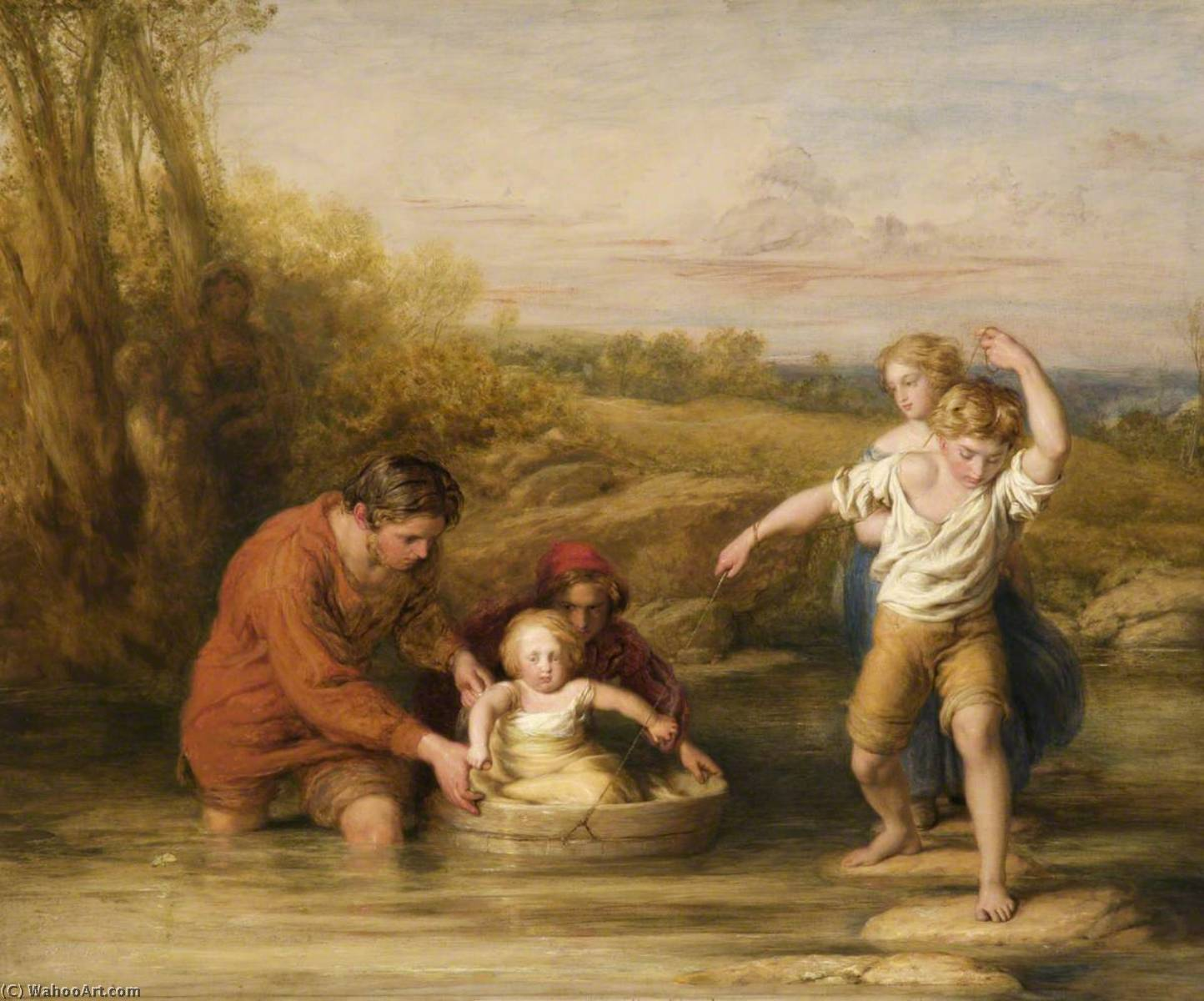 первый вояж , Масло на панели по William Mulready The Younger (1786-1863, Ireland)