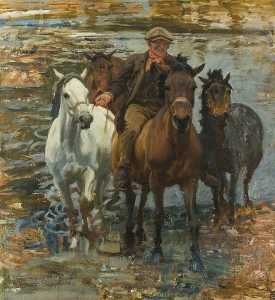 Alfred James Munnings - Исследование для 'The Ford'